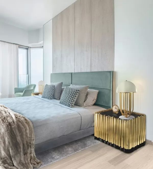 اختيار اللون الذهبى فى ديكورات غرف نوم 2018