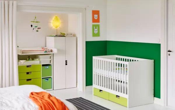 المزج بين اللون الاخضر والبرتقالى مع الابيض فى ديكورات غرف نوم اطفال حديثي الولادة 2018